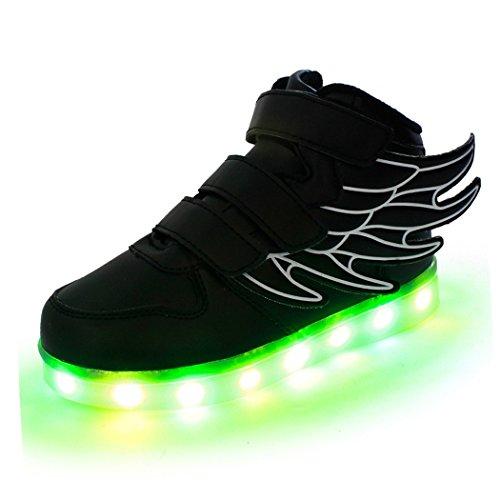 Aidonger Boy Girl di forma di angelo flüfel Unisex 7colore USB ricarica LED che cambiano colore brillante high Top-Scarpe da ginnastica alto Sneaker scarpe da ginnastica, nero (nero), 30