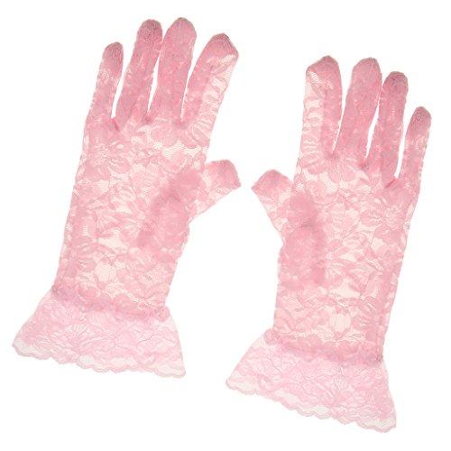 LOVIVER Damen Spitze Handschuhe Party Kostüm Zubehör - Rosa, 26 x 9 - Rosa Kostüm Handschuhe
