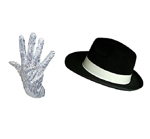 Ikonen Pop Kostüm - Michael Jackson-Mütze und Handschuhe-Set mit Pailletten-Pop Ikone Kostüm