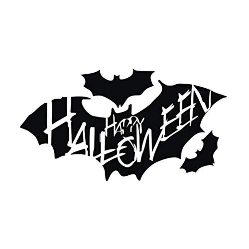 Halloween Horror Aufklebe,Transwen Happy Halloween Hintergrund Wandaufkleber Fenster Dekoration Abziehbild Dekor Wandtattoo für Schlafzimmer Tür (Schwarz)