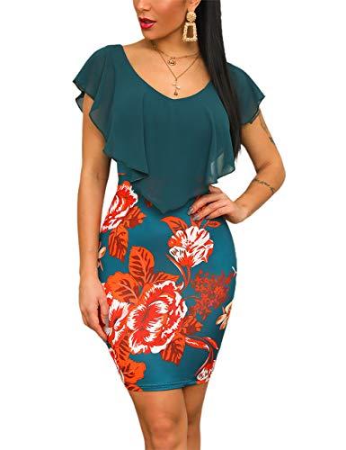 CHICME Damenmode Sommer Blumendruck Rüschen Design, figurbetontes Kleid XL Mehrfarbig - Damen Flutter Sleeve Dress