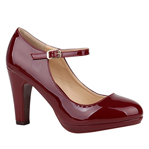 Damen Schuhe Pumps Mary Janes Veloursleder-Optik High Heels Blockabsatz 152432 Dunkelrot Lack Lack 40 Flandell