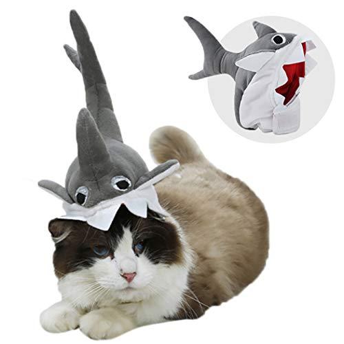 Legendog Haustier Hut Netter 3D Haifisch Justierbarer Befestiger Band Hundehut Haustier Kostüm Hut
