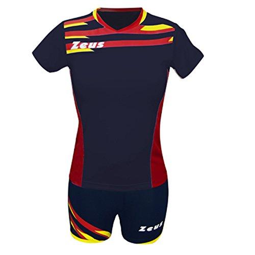 Zeus Kit Itaca Donna Damen Volleyball Trikot Hose Shirt Indoor Handball Training Ausbildung Blau-Rot-Gelb (S)