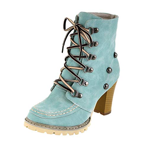 MYMYG Damen Schlüpfen Stiefeletten Freizeit Nieten Schuhe Rutschfeste Schnürstiefel High Heel Short Tube Lace-Up Boots Flache Schuhe Langschaft (Frauen Zombie-outfits Für)
