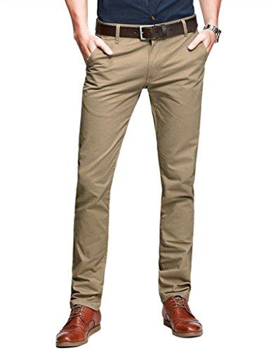 Match Herren Slim-Tapered Flat-Front Casual Hose #8025(8025 Licht khaki,34) (Baumwolle Gürtel Slim)