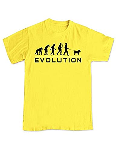 Shaw Tshirts® British Bulldog Dog - Evolution of Dog WalkerT-Shirt - Yellow (XL)