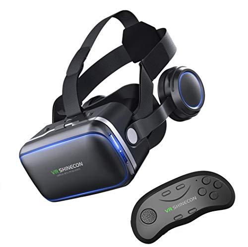 ZIHENGUO VR-Brille VR-Virtual-Reality-3D-Brille 100 ° FOV-Stereo-Kopfhörer Mit Gamepad, Geeignet Für 4,7 '' - 6,0 '' - Verschiedene Smartphones,A