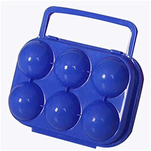 Uoging Outdoor Portable Kunststoff 6 Eier Halter Aufbewahrungsbox Fall Container Carriers Keeper mit Griff für Camping Wandern Picknick Garten, Orange (Color : Blau) Keeper Container