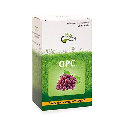 OPC Traubenkernextrakt-Kapseln mit Vitamin C | Hochdosiert I Geprüfte Premium-Qualität I Vegan | 2-Monatsvorrat | von BestGreen I NEU bei Amazon