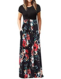 Vestidos Boho de Fiestas SUNNSEAN Vestidos Largos Floral de Rayas Moda Casual Vestido Estampado de Manga Corta con Cuello Redondo para Mujer Faldas Largas de Verano