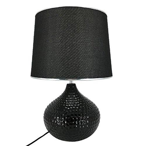Lampe a poser en céramique forme sphere hauteur 51 cm avec abat-jour diametre 34 cm E27 15W noir liseret chrome