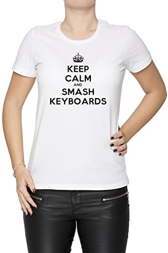 Keep Calm And Smash Keyboards Donna T-shirt Bianco Cotone Girocollo Maniche Corte White Women's T-shirt