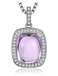 caf897814808 JewelryPalace Amortiguar Corte Auténtico Amatista Colgante Plata de ley 925