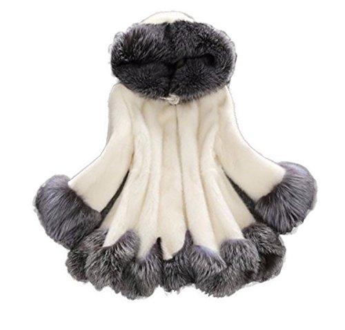 Huaishu Femmes Manteau de Fourrure d'hiver Solide Simple à Capuche à Manches Longues Long Fausse Fourrure Veste Chaud Tops Manteau Pardessus