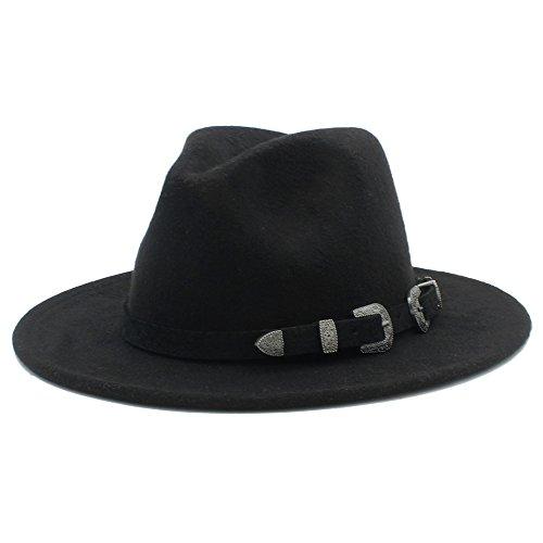 YQXR Moda Sombreros Sombrero de ala ancha de lana para hombres, mujeres, con estilo punk 100% nuevo. (Color : 4, Size : 57-58cm)