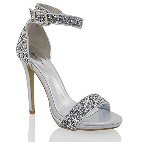 Silver Glitter Heels: Amazon.co.uk