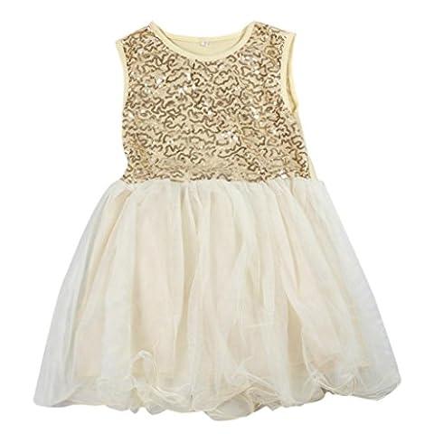 Amlaiworld Sommer Art Mädchen Pailletten Kleider Prinzessin Party Kind Kleidung-Baby-Kleid (100, Gelb)