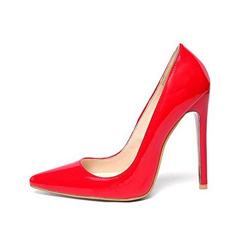 Vernice Rosso Donne Elastico scarpe Balamasa Pompe Di Solida 5xnwSUq