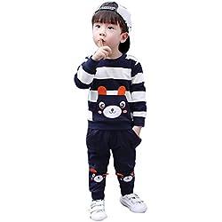 Ropa niños Conjunto de Ropa de bebé niña niño otoño Invierno Camisa Rayas Oso Tops + Pantalones Conjuntos Trajes 2-5 Años ❤️ Modaworld