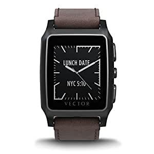 Vector Watch Smartwatch - Black Case with Brown Leather Strap Small Fit