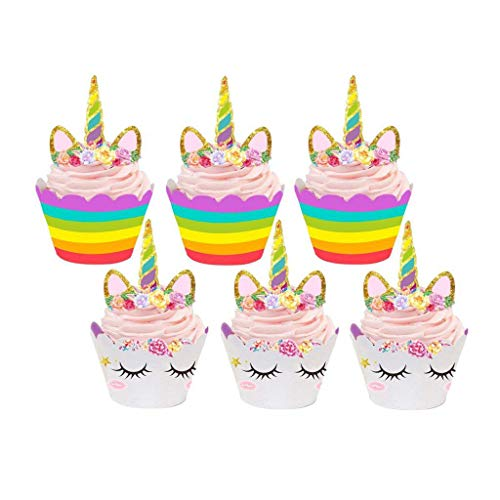 Tumao Einhorn Cupcake Toppers 24 Stücke, Unicorn Kuchen Dekoration für Geburtstag, Party (Essbare Toppers Cupcake Hochzeit)