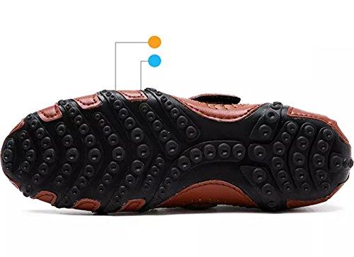 SZAWSL Herren Leder Schuhe Slipper Elegant Flache Loafers Bootsschuhe Derby Braun