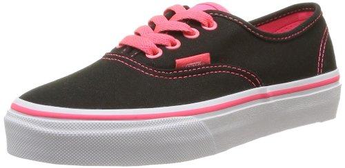 Vans K Authentic Pop, Baskets mode mixte enfant Noir (Black/Neon Red)