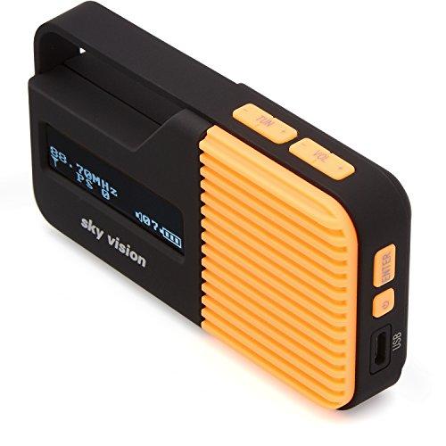 Sky Vision DAB Radio 12 O - Kleines, tragbares Mini Digital Radio, Outdoor, DAB+, FM/UKW Tuner, USB Ladefunktion (Orange)