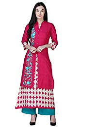 6c15ac73a7 Kurti s by Menka Mandarin Collar 3 4 Sleeves Inner With Upper Embrodered  Rayon A-