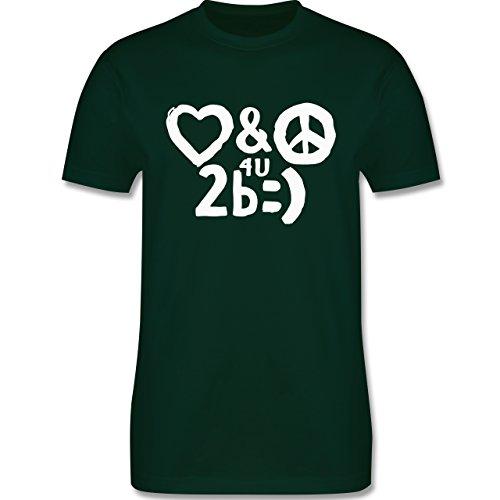 Symbole - Love & Peace for you to be happy - Herren Premium T-Shirt Dunkelgrün