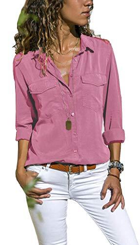 UMIPUBO Bluas de Mujer Camisa Algodón Blusa Mujer Elegante Manga Larga Camisa Suelta Mujer Casual Invierno Primavera Shirts (M, Rosado)