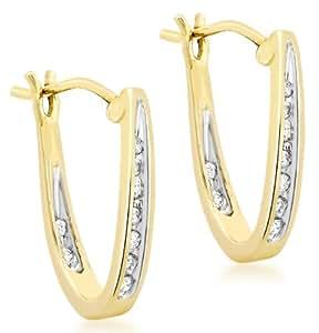 Carissima Gold - Boucles d'oreilles créoles - Femme - Or jaune (9 cts) 1.64 Gr - Diamant