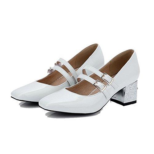 Brancos Salto Pé Puramente Médio Do Sapatos Bombas Quadrado Dedo Agoolar Fivela Senhoras Pg6qwHW