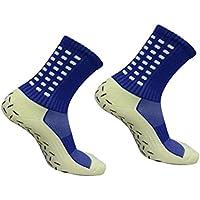 WINOMO Calcetines de fútbol antideslizantes para hombres Calcetines cortos de fútbol (azul)