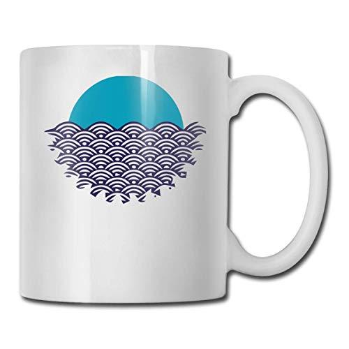 Daawqee Tazas Coffee Mugs 11oz Funny Cup Milk Juice Or Tea Cup Blue Sun Waves Birthday