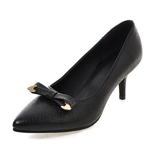 VogueZone009 Femme à Talon Correct Matière Mélangee Tire Pointu Chaussures Légeres Noir