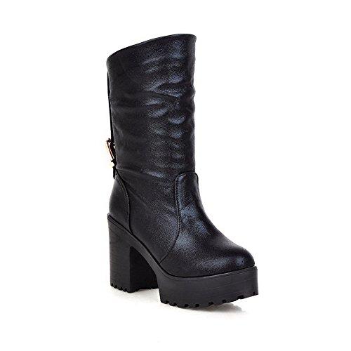 AllhqFashion Damen Hoher Absatz Blend-Materialien Niedrig-Spitze Rein Ziehen auf Stiefel, Pink, 34
