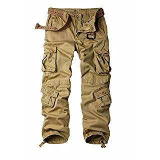 MUST WAY Men's Cargo Regular Trouser Army Combat Work Trouser Workwear Pants with 8 Pocket Khaki 36