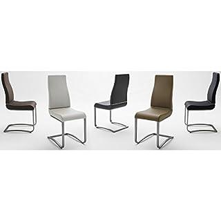 Baidani Designer Freischwinger Stuhl Adian 2er Set Bezug Kunstleder (grau)