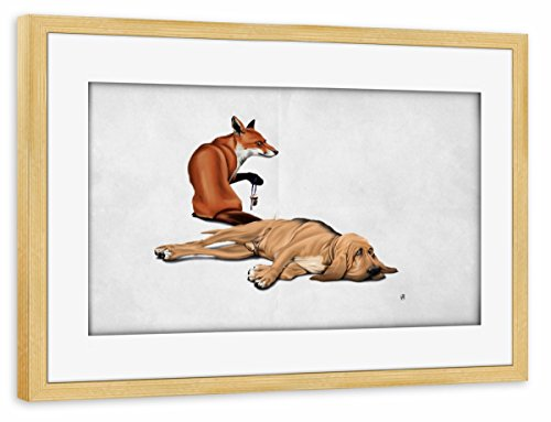artboxONE Poster mit Rahmen Kiefer 75x50 cm Not so (Wordless) von Rob Snow - gerahmtes Poster - Snow Tail Fox