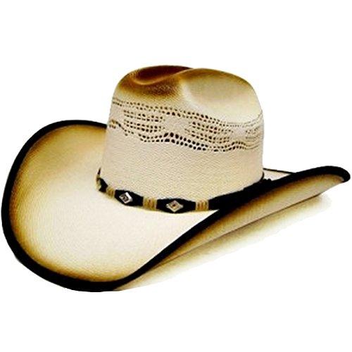0fa081416451f Modestone Unisex Straw Chapeaux Cowboy Bangora 2 Tone Fabric Brim Edge White