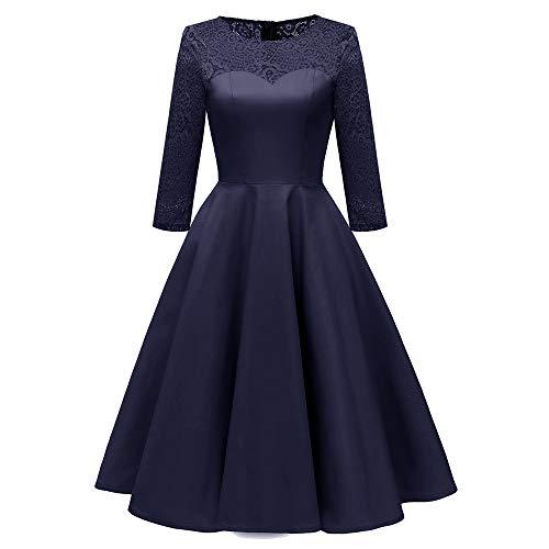 Xmiral Damen Kleid Herbst Vintage Prinzessin Blumenspitze Polyester Patchwork Cocktail Party A-Line Kleid (L,Marine)