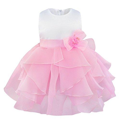 y Mädchen festlich Kleid Blumenmädchenkleid Ärmellos Organza Tütü Prinzessin Kleid Babykleid Partykleid Festzug mit Blumen in Größe 62-98. Rosa 68-74 ()