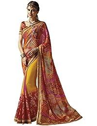 EthnicJunction Women's Georgette Bandhani Zari Lace Border Saree With Blouse(Multicolored Traditionnal Fulvous...