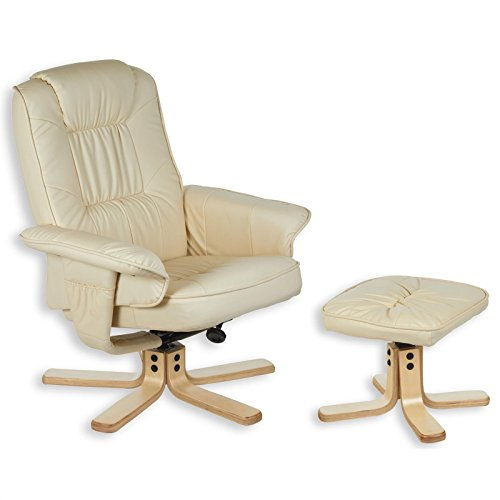 Relaxsessel mit Hocker CHARLY, Fernsehsessel, Drehsessel, Polstersessel , Sessel in beige creme weiß