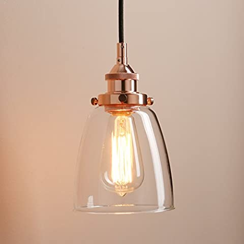Pathson 5.6 Inch Industrial Vintage Modern Bell Clear Glass Shade