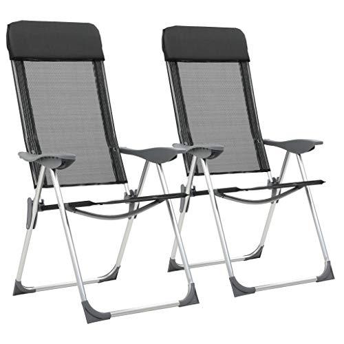 vidaXL 2X Chaise Pliante de Camping Noir Aluminium Plage Jardin Patio Fauteuil