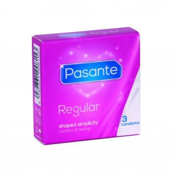 Pasante Kondome Regular Pack (3er Packung, Pasante Regular) medium normale Größe 53 befeuchtet spermizid frei Gleitmittel Standardgröße Gel Länge 190 mm feucht Classic Natur Präservative