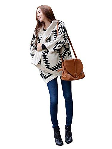 Molly Ragazza Manica Lunga Geometrico Cardigan Allentato Scialle Maglione Bianco